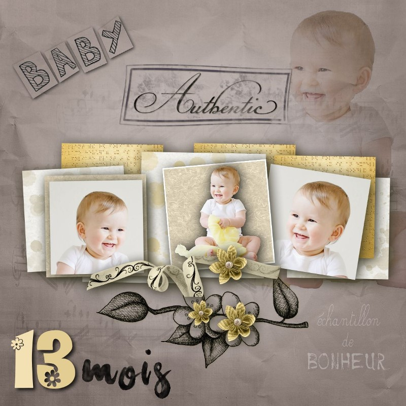 "Cap 3 Déco scrapbooking modèle ""Authentic Baby"""